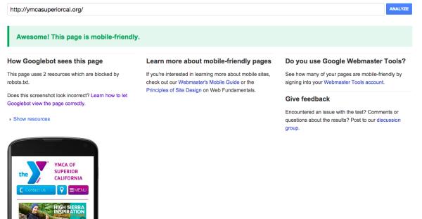 Google Mobile Test YMCA of Superior California