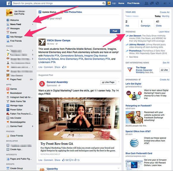 Facebook Newsfeed Layout
